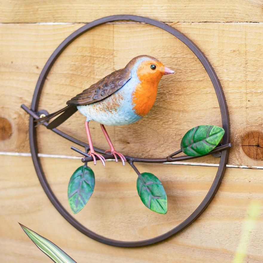 La Hacienda Perching Robin Metal Garden Bird Wall Art