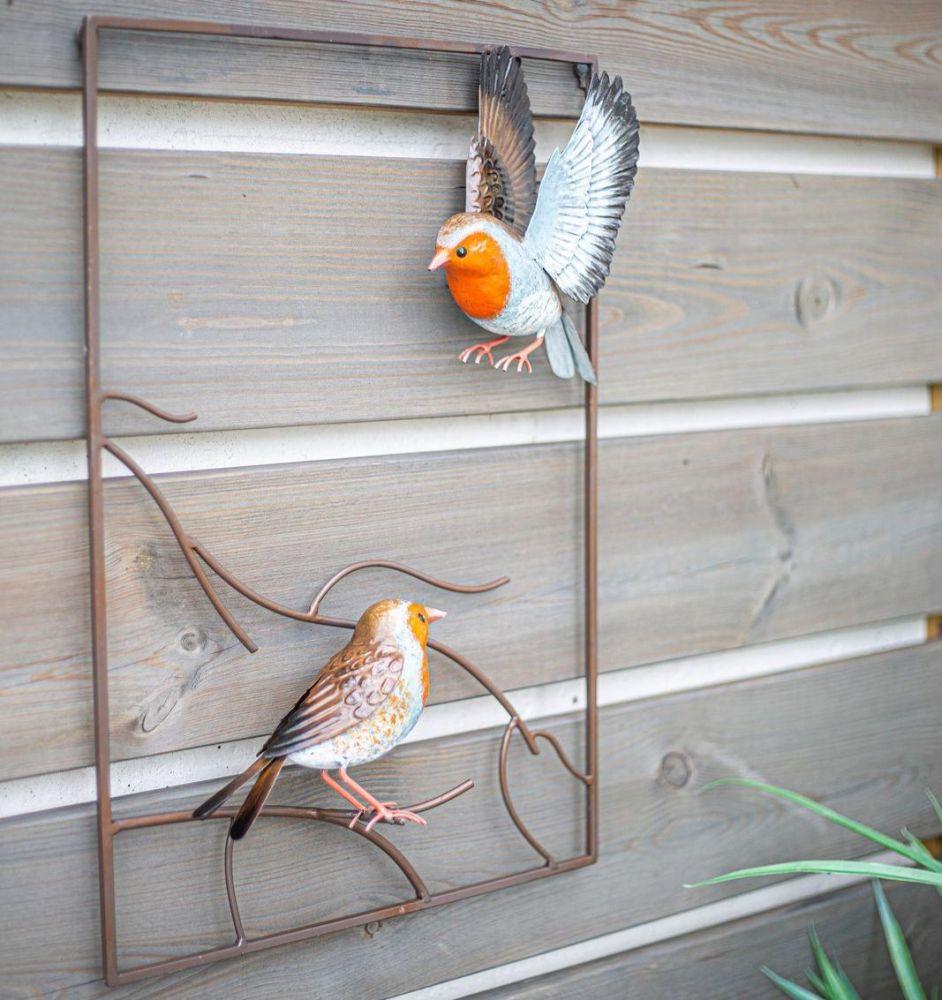 La Hacienda Tree Top Robins Metal Garden Bird Wall Art
