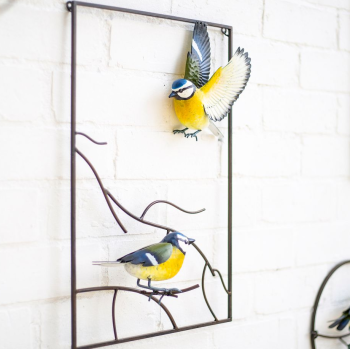 La Hacienda Tree Top Blue Tits Metal Garden Bird Wall Art