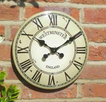 Smart Garden Westminster Garden Wall Clock - Cream 12''