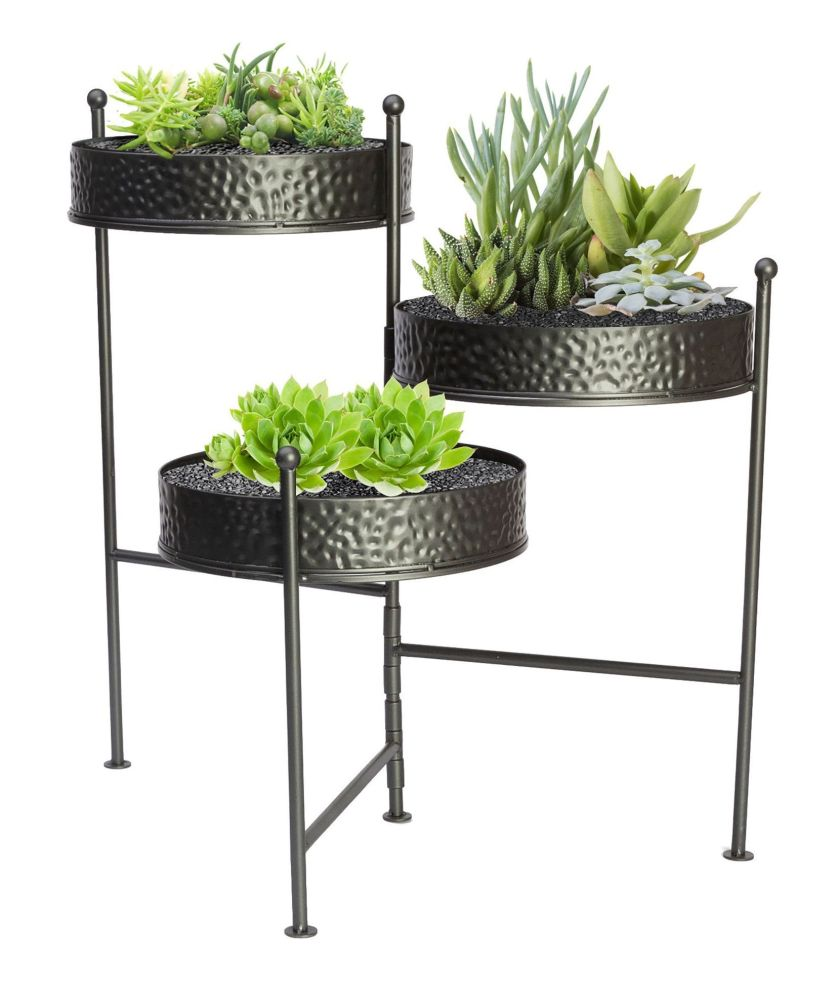 Panacea Contemporary 3 Tier Folding Plant Stand - Hammered Grey Metal