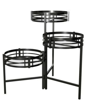 Panacea Mission Collection 3 Tier Folding Plant Stand - Black 81635