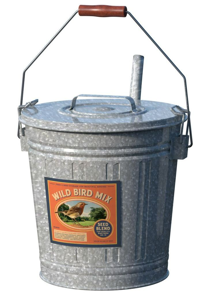 Panacea Wild Bird Seed Storage Bucket Steel Container 25253