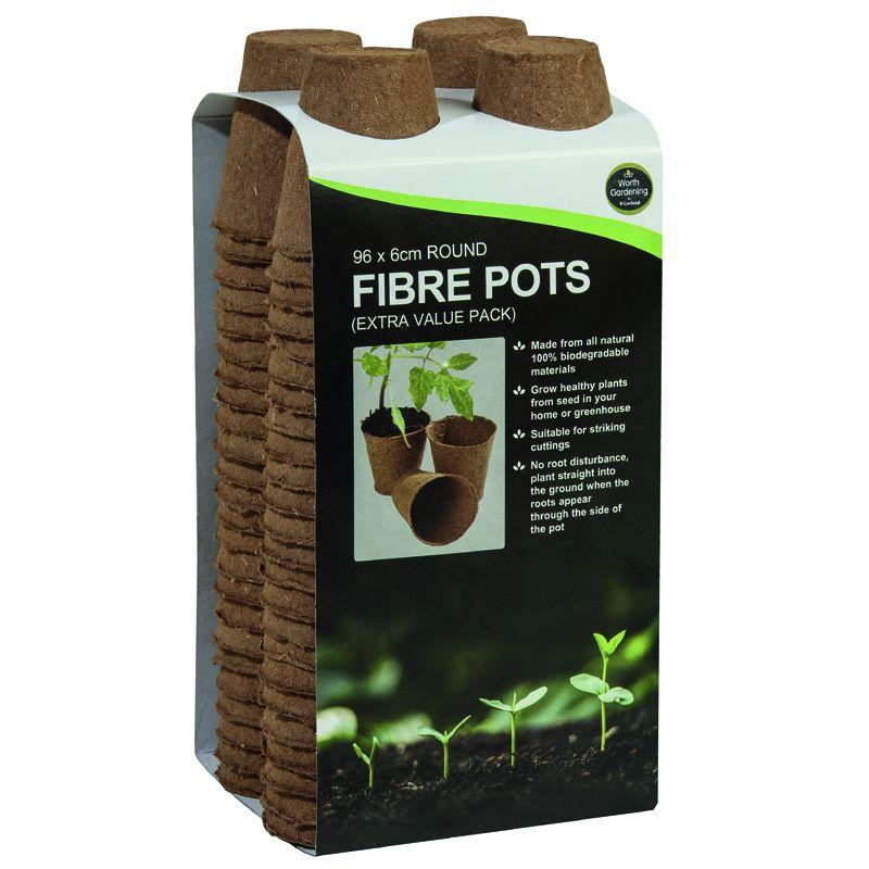 Garland 6cm Round Fibre Pots Biodegradable x 96 Value Pack - W0300