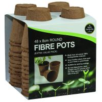 Garland 8cm Round Fibre Pots Biodegradable x 48 - W0304