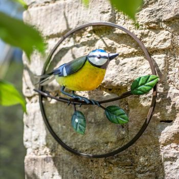 La Hacienda Perching Blue Tit Metal Garden Bird Wall Art