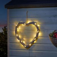Smart Solar Wicker Heart  Door Garden Ornament - Grey