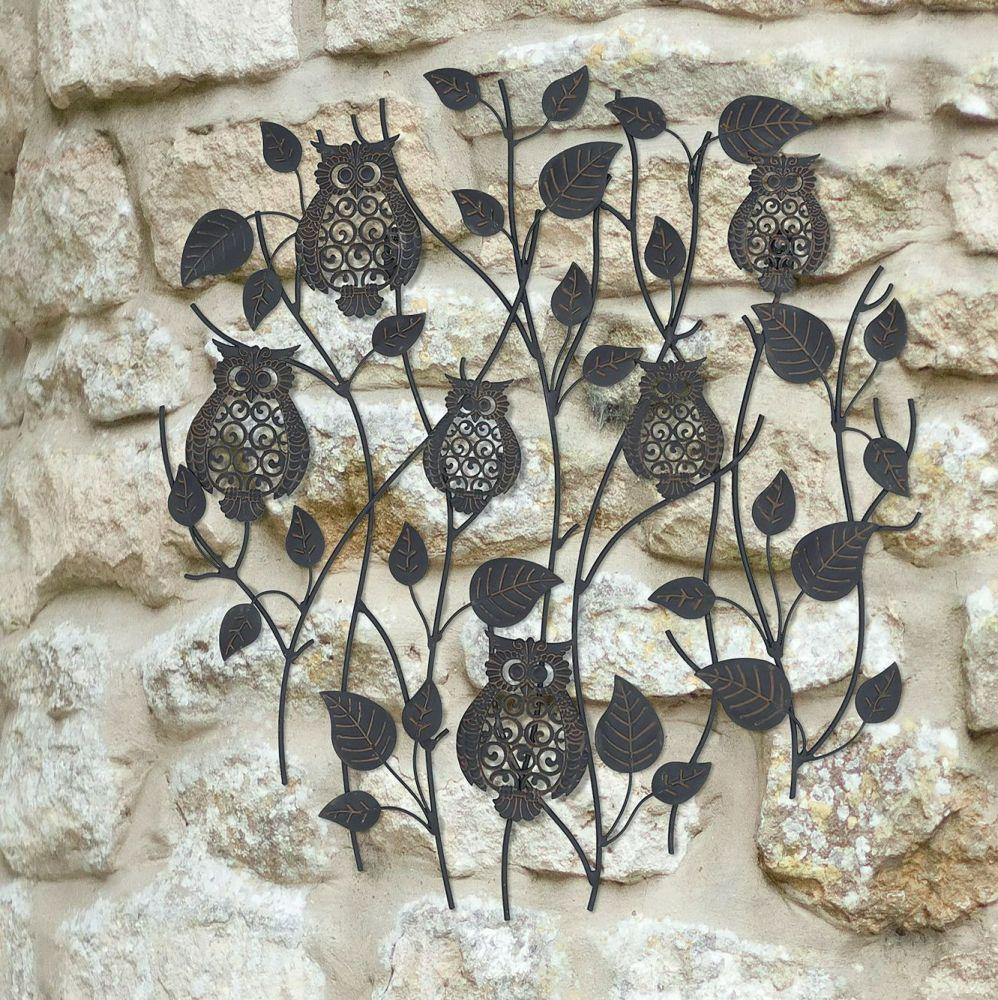 La Hacienda Perching Owls Metal Garden Bird Wall Art