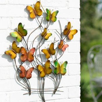 La Hacienda 3D Butterfly Swarm Metal Garden Wall Art