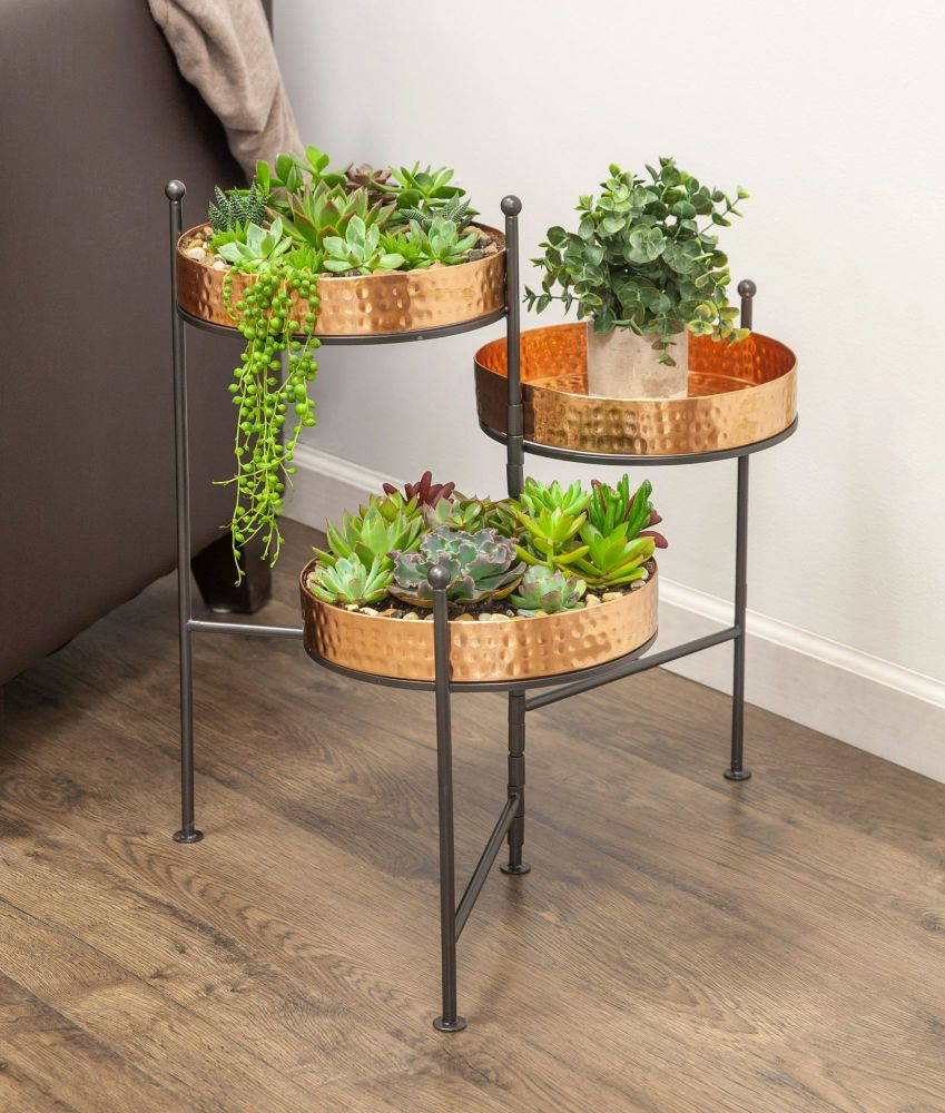 Panacea Hammered 3 Tier Folding Metal Plant Stand - Copper