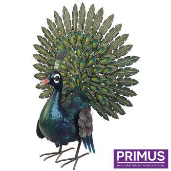 Primus Small Deluxe Display Metal Peacock Bird Ornament 54cm PQ1833