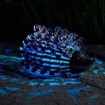 Smart Solar Hedgehog Silhouette Light Metal Animal Ornament