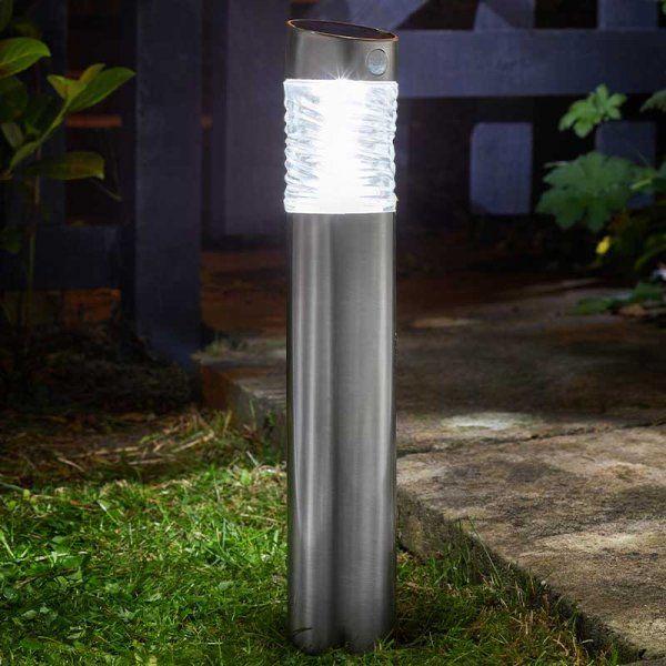 Smart Solar Pharos Motion Activated Steel Garden Bollard Light