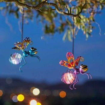 Smart Solar Bug Lights Garden Metal Firefly Glowing Insects - 3 pack