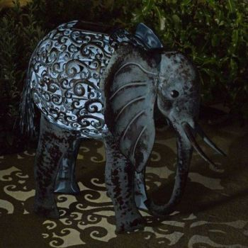Smart Solar Elephant Silhouette Light Metal Garden Animal Ornament