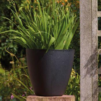 Stewart Basalt Low Round Contemporary Plastic Planter - Black 40cm