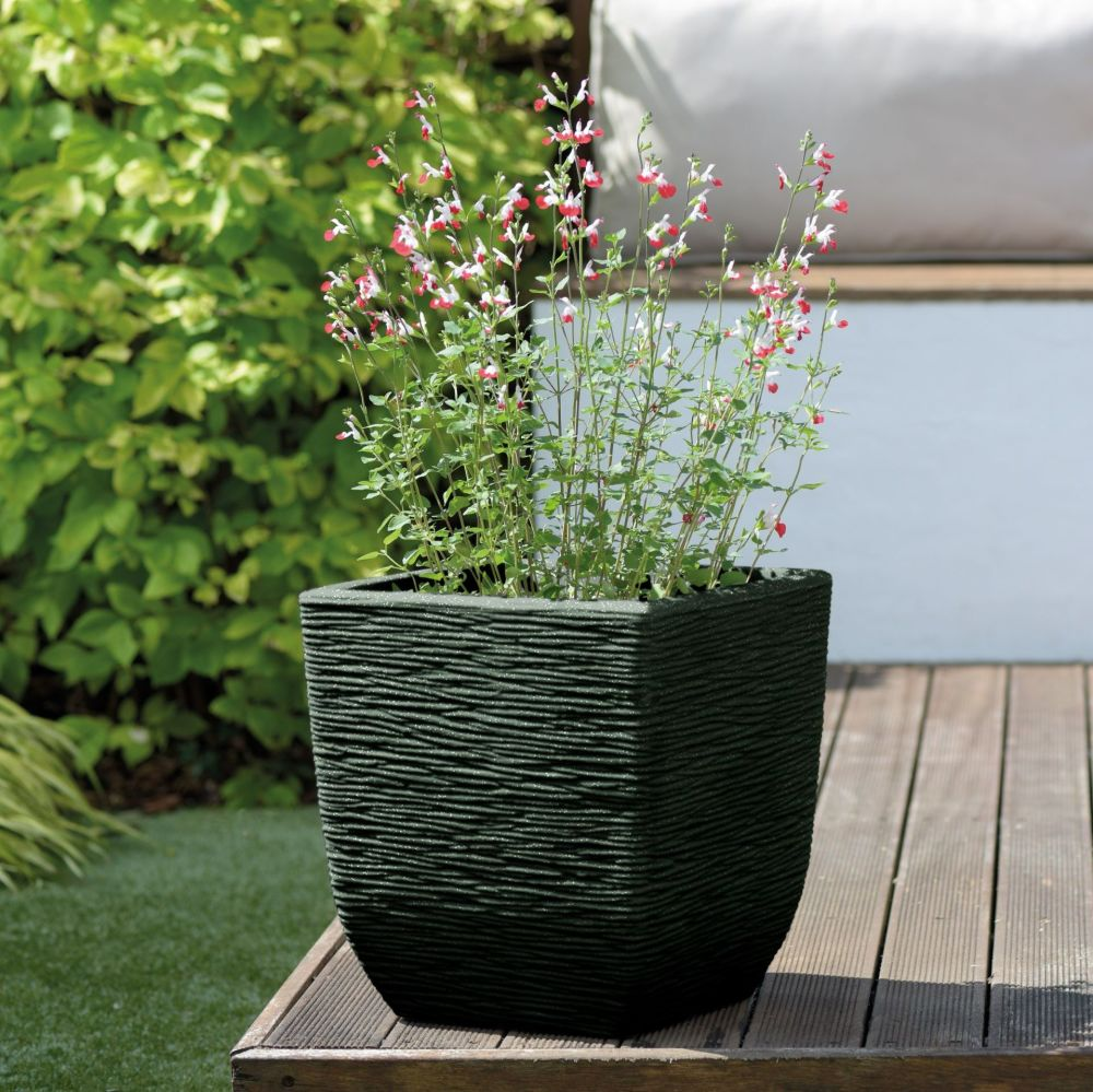 Stewart Cotswold Square Plastic Planter Marble Green - 38cm