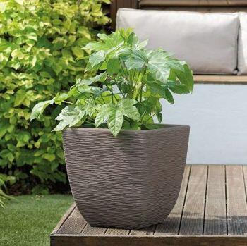 Stewart Cotswold Square Plastic Planter Dark Brown - 38cm