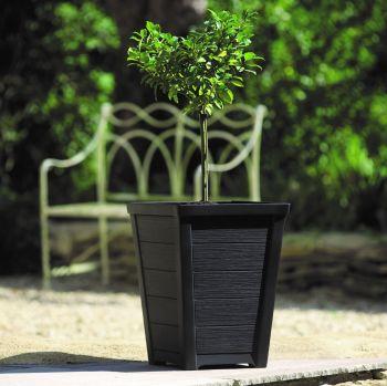 Keter Stewart Taper Plastic Planter - Low Anthracite 31cm
