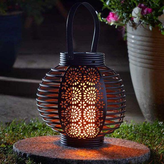 Smart Solar Ferrara Flaming Lantern Garden Patio Light 1080042