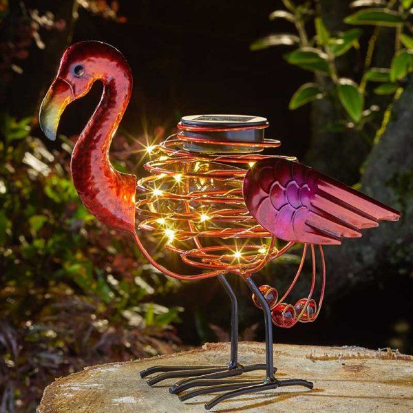 Smart Solar Flamingo SpiraLight Metal Animal Light Ornament