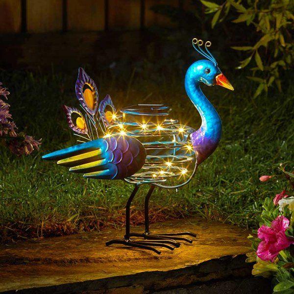 Smart Solar Peacock SpiraLight Metal Animal Light Ornament