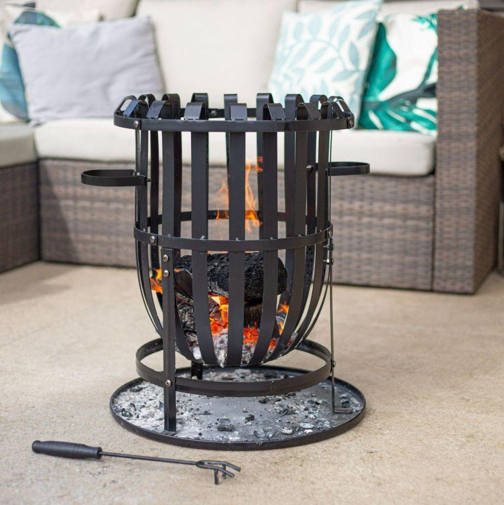 La Hacienda Vancouver Steel Firebasket  with Grill 56043
