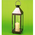 Slim Burnished Steel Square Garden Lantern