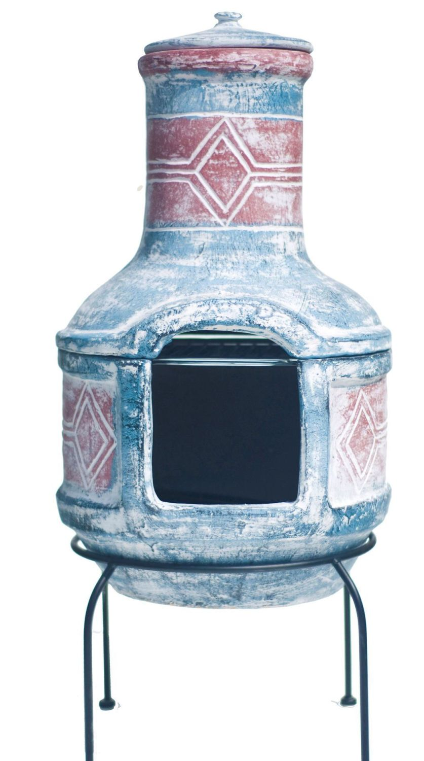 La Hacienda Clay Chimenea Chiminea - Geometric Design with Grill