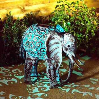 Solar Metal Elephant Garden Light Lighting Animal Ornament