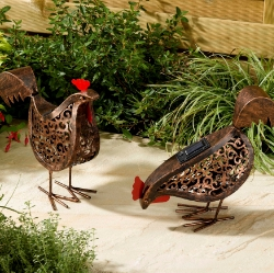 Solar Metal Scroll Hens Garden Patio Light Lighting Animal Ornament