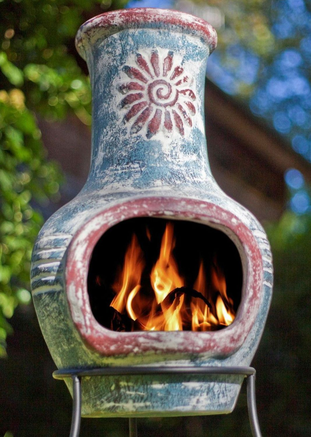 La Hacienda Clay Chimenea Chiminea Sea Blue & Red with Swirl Design