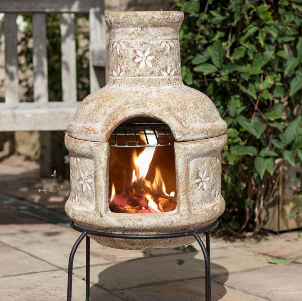 La Hacienda Clay Chimenea Chiminea - Star Flower Design with Grill