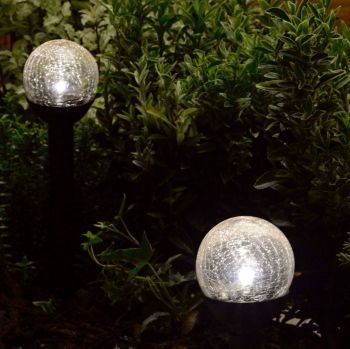 Smart Solar Crystal Crackle Globe Garden Stake Lights 6 pack