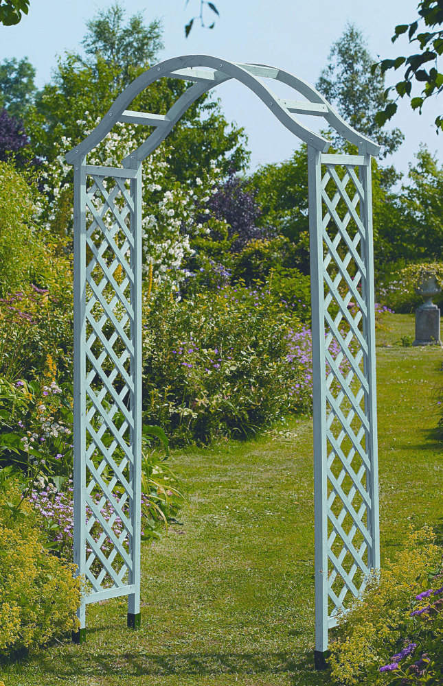 Gardman Elegance Wooden Garden Arch - Sea Breeze & 4 Ground Spikes