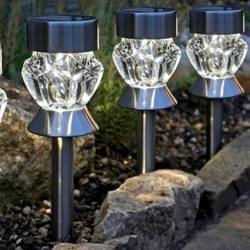 Smart Solar Crystal Glass & Stainless Steel Stake Lights 4pk