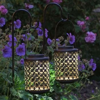 Smart Solar Shepherds Crook Riad Rust Effect Lantern Light 2pk