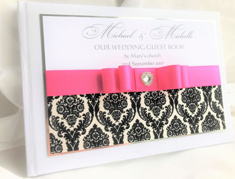 Wedding guest books without side ribbon