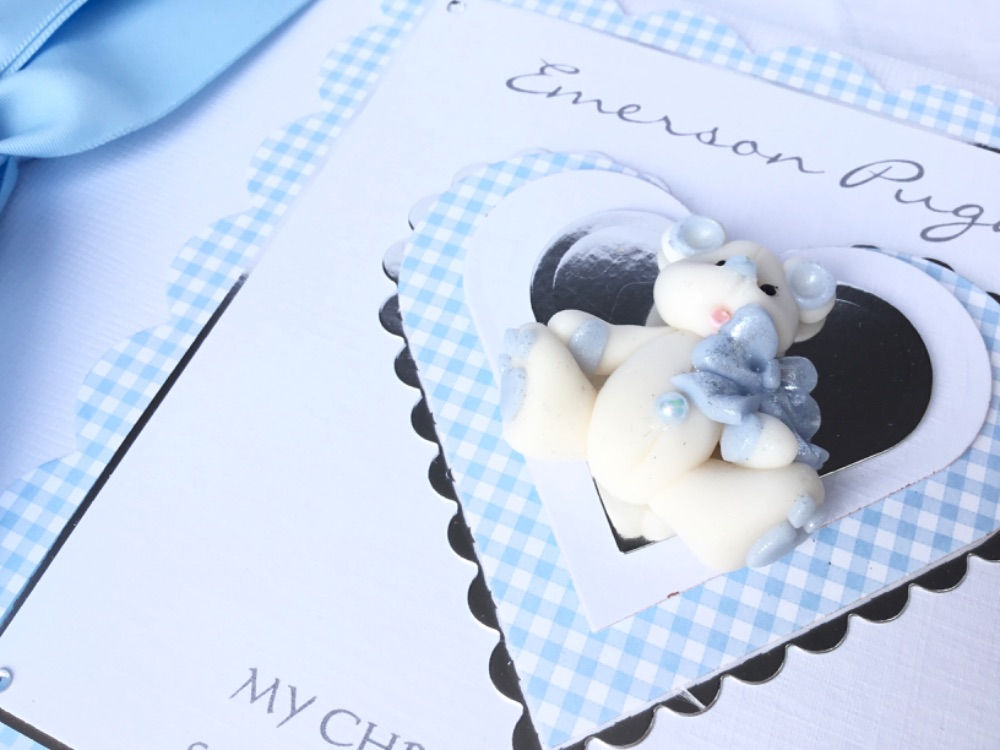 Boys personalised Christening/new baby cards