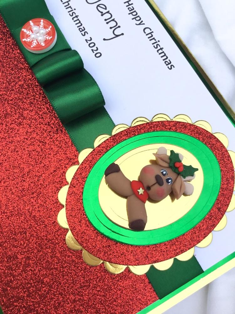 Personalised reindeer keepsake card