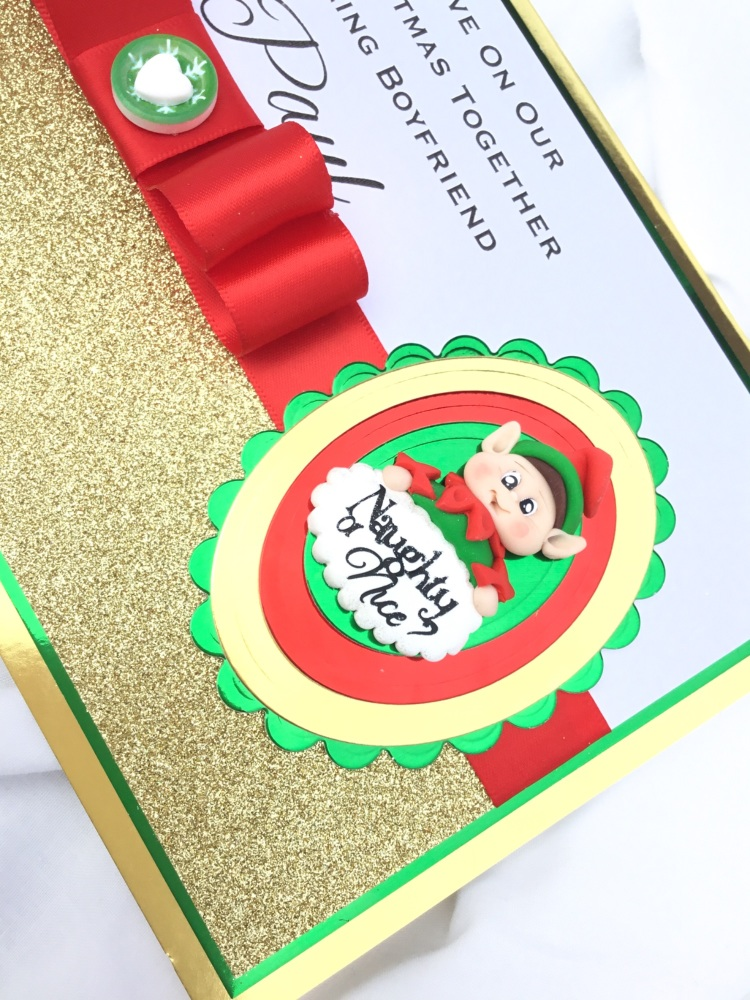 Personalised naughty or nice Christmas keepsake card