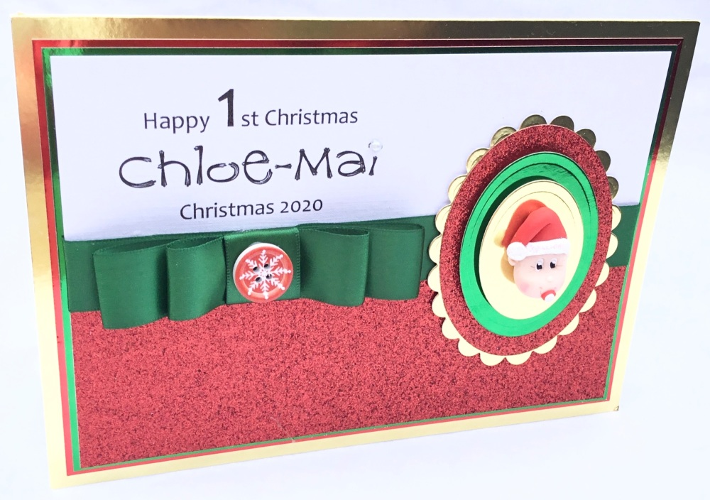 Personalised gingerbread man Christmas keepsake card