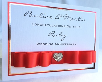Personalised Ruby Wedding Anniversary keepsake Card