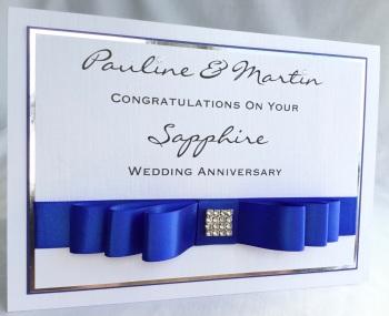 Personalised Sapphire  Wedding Anniversary keepsake Card