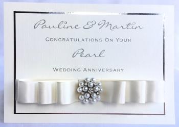 Personalised Pearl Wedding Anniversary keepsake Card