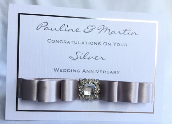 Personalised Silver Wedding Anniversary keepsake Card