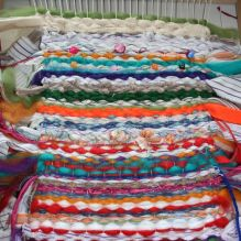 weaving craft, various colours and textured fabrics