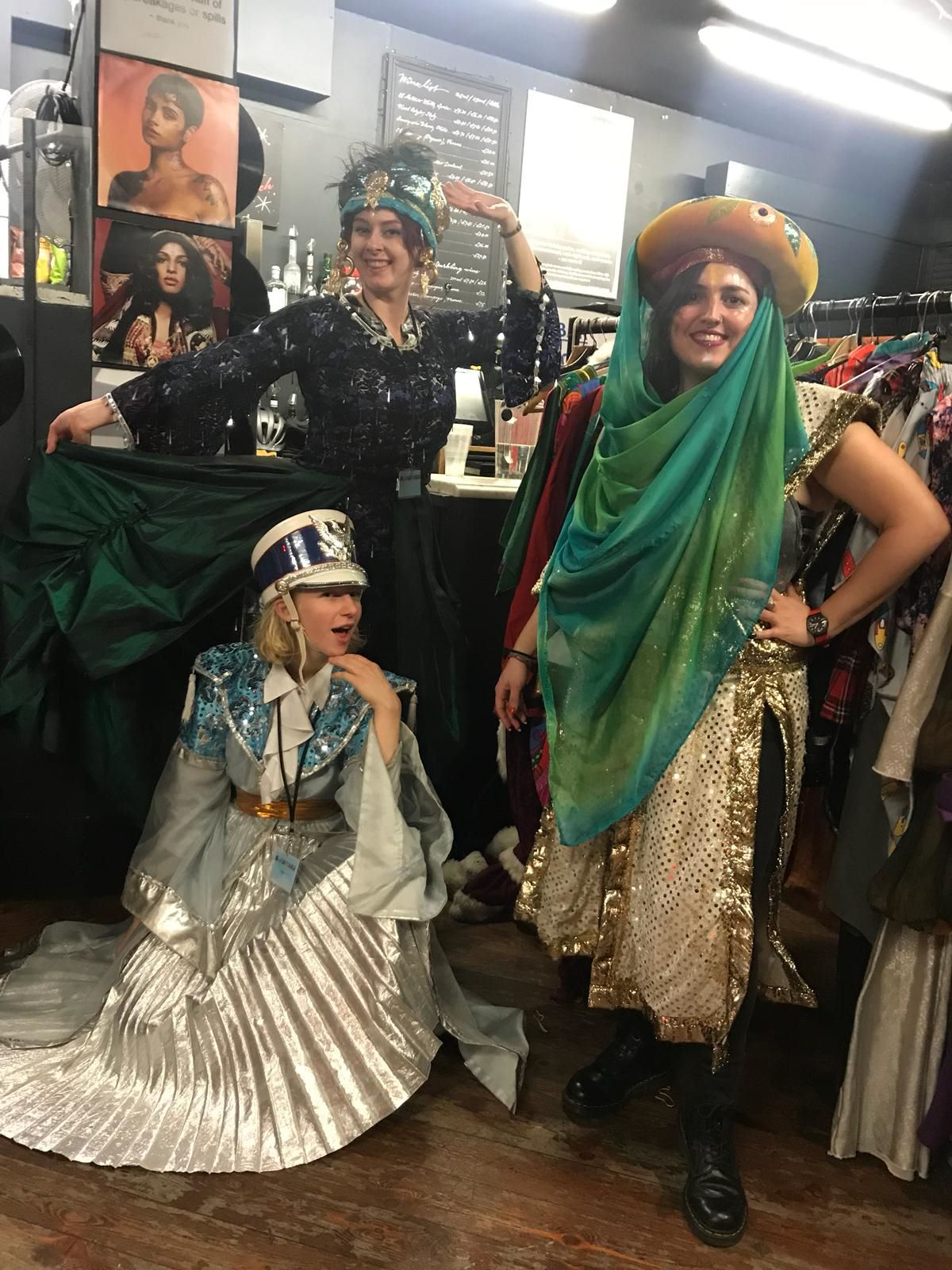 Sarah-Mary (left back), Anna and Claudia get ready to help families at our dress-up corner as part of International Women's Day celebrations at the Komedia arts centre.