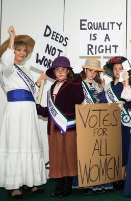 Alison and pupils from Patcham Junior School     re-stage the suffragette demonstrations of 1918.