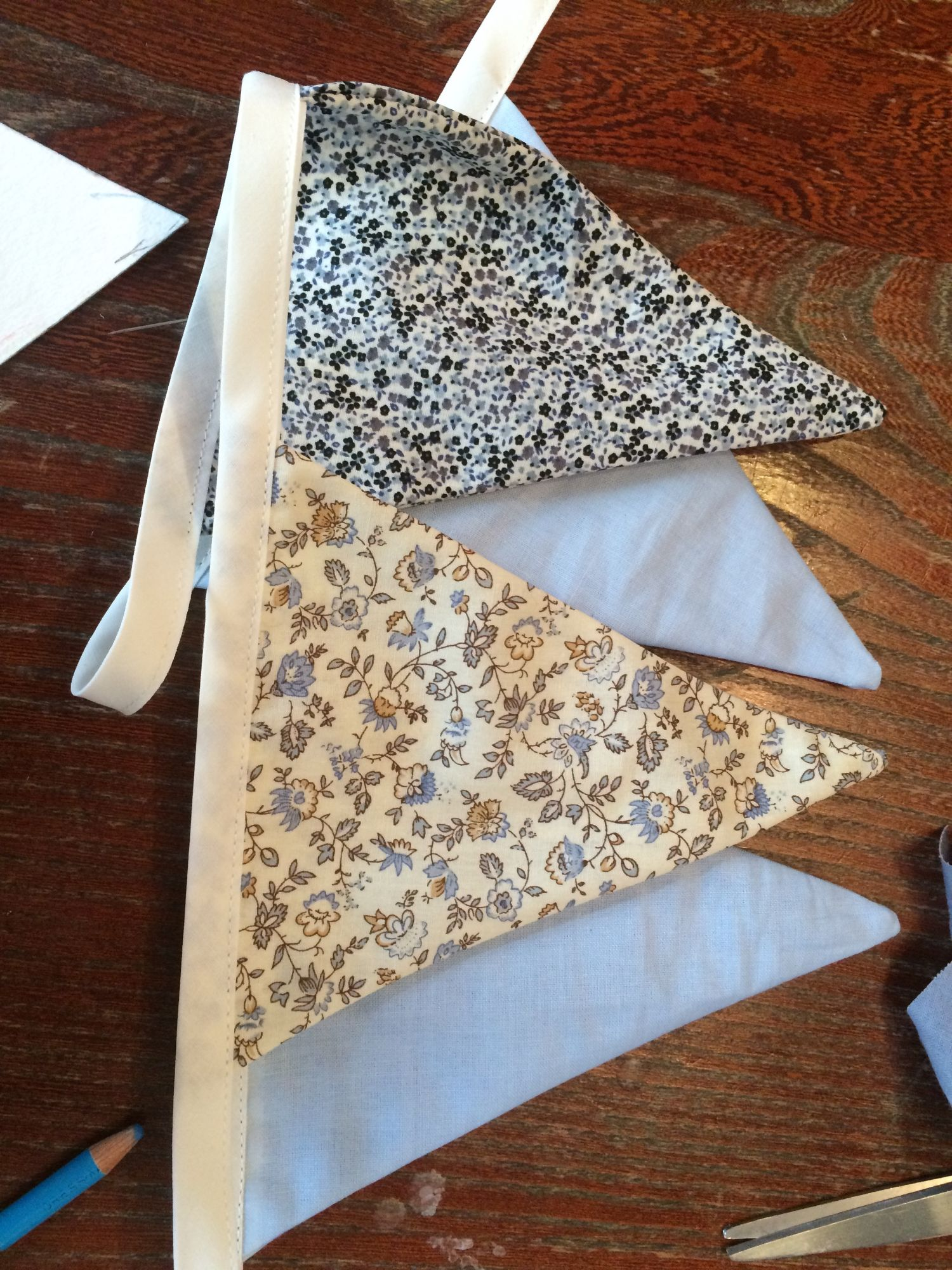 home-made bunting with sewing equipment